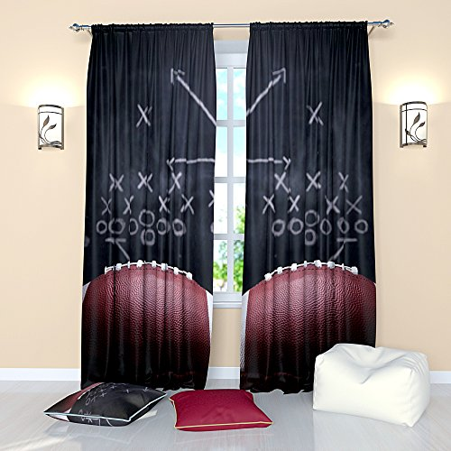 Sports Curtains Rugby American football. Window Treatment Curtain Panel (Set of 2) Living, Kids, Boy Room W84