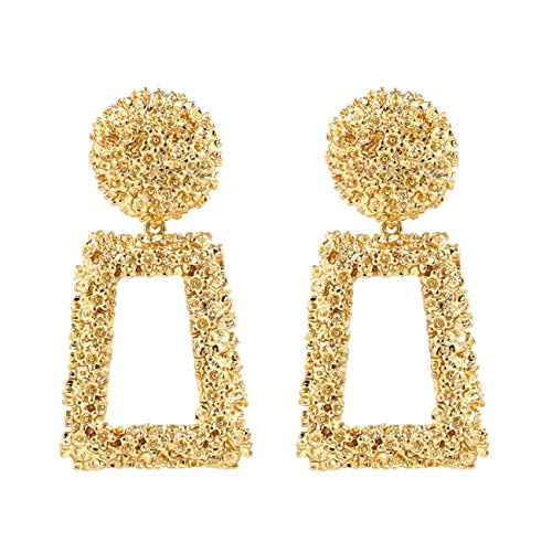 Golden/Silver Raised Design Statement Earrings