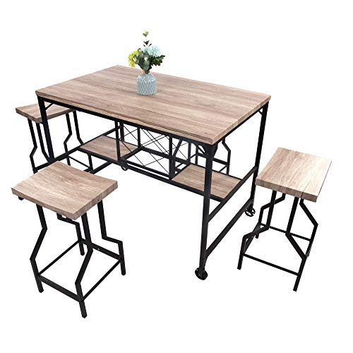 Dporticus 5-Piece Dining Set Industrial Style Wooden Kitchen Restaurant Table and Chairs with Metal Legs (Sets Banquette Dining)