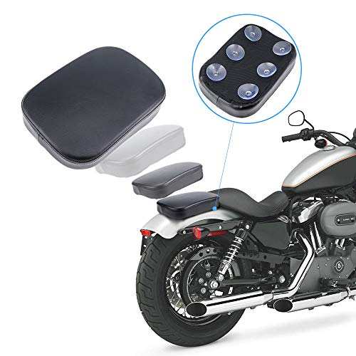 KEMIMOTO Pillion Pad Suction Cup Seat for Sportster Iron XL 883 Forty-eight Dyna Street Bob Custom Bikes Motorcycle Passenger Cushion ()