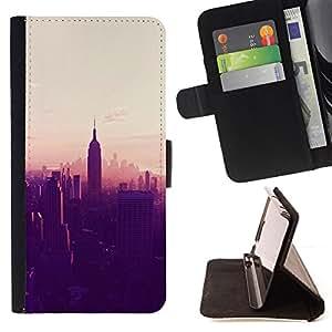 - New york City sunset empire state - - Prima caja de la PU billetera de cuero con ranuras para tarjetas, efectivo desmontable correa para l Funny HouseFOR Samsung Galaxy S3 III I9300