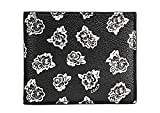Coach New York Men's F57654 Floral Print Leath Wallet Black White O/S