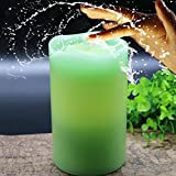 Kitch Aroma Real Wax Indoor Water Fountain Candles with Rechargeable function,Water Wick Pillar Candle Tabletop Fountain,Green Color,Pack of 1