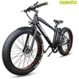 NAKTO 26 inch 300W Fat Tire Electric Bike for Adults Snow/Mountain/Beach Ebike with Shimano 6 Speed Gear and 36V10A Lithium-Ion Battery