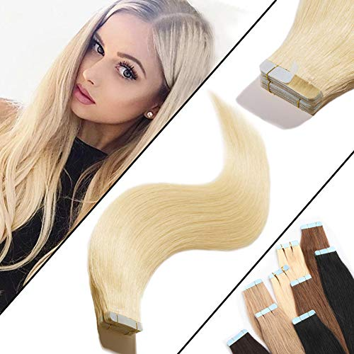 20 inch Seamless Skin Weft Tape In Human Hair Extensions Platinum Blonde 100g/40pcs Straight Unprocessed Remy Hair Professional Tape on +20pcs Free Tapes (20'' #60)