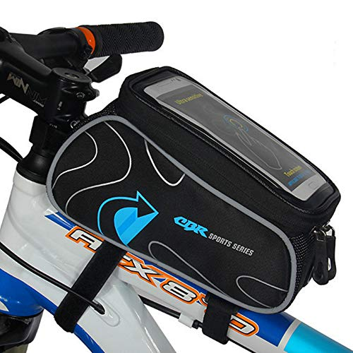 YF-TOW Bike Frame Top Tube Handlebar Bag, Bicycle Strap Front Storage Mountain Road Cycling Zipper Waterproof Top Crossbar Bike Pannier Pouch Phone Mount Under