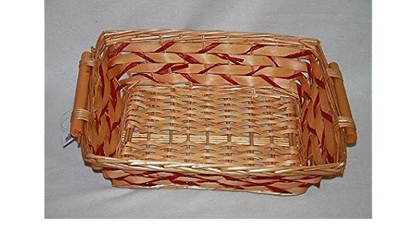 mimbre Navidad cesta de regalo bandeja con rojo y dorado tejido: Amazon.es: Hogar