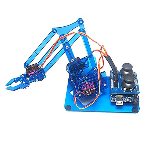 KIMME Mearm Joystick Mini Industrial Robotic Factory Arm Deluxe Kit with Joystick Button Controller 4pcs Servo