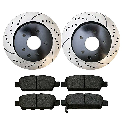 Prime Choice Auto Parts SCDPR4138941389905 Pair of Drilled and Slotted Rotors and Premium Ceramic Brake Pads -