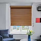 "Chicology Real Wood Blinds / window horizontal 2-inch venetian slat, Real Wood, Variable Light Control - Camel, 23""W X 64""H"