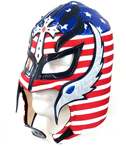 Rey Mysterio Costume Mens (Del Mex Lycra Lucha Libre Adult Luchador Mexican Wrestling Mask Costume (Rey Mysterio (Red, White, Blue)))