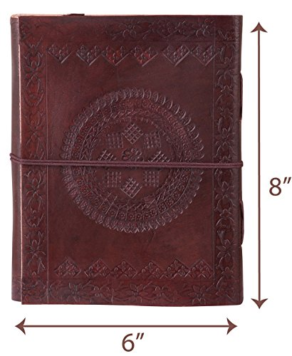 Adimani Tree of Life Handmade Brown Leather Diary/Travel Writing Journal Notebook with Strap/Refillable Size 8x6 inches- Thoughtful Gift