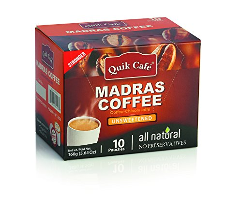 Quik Cafe Unsweetened All Natural Madras Coffee Unsweetened, No Preservatives, No GMO (160 g/5.64 (Madras Natural)