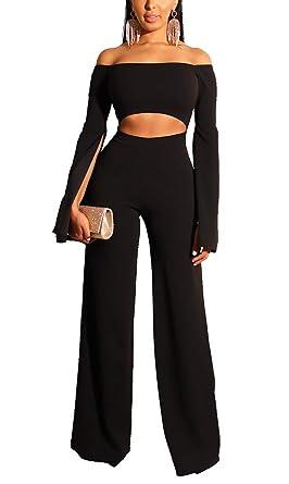 4fbcade567a9 Amazon.com  Club Jumpsuits for Women Elegant - Off Shoulder Long Bell Sleeve  Split Hollow Out Wide Leg Long Pants Jumpsuit Romper  Clothing