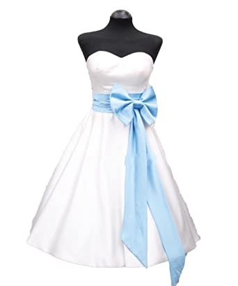 5452f762b8 RMDress Vintage Tea-Length Satin 50 60s Bridal Gown Wedding Dress Bow Sash Bride  Wedding at Amazon Women s Clothing store