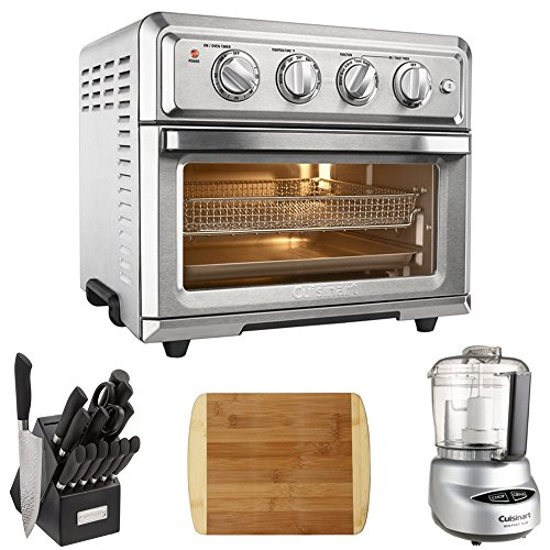 Cuisinart TOA-60 Convection Toaster Oven Air Fryer w/Light (Silver) with Ultimate Kitchen Bundle Includes, 15Pc. Stainless Steel Cutlery Block Set, Mini Food Processor & Bamboo Cutting Board
