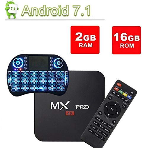 [Free Wireless Mini Keyboard] DIGOU MX Pro Android TV Box,Android 7.1 TV Box 2GB/16GB Amlogic S905W Quad core 64 Bits…