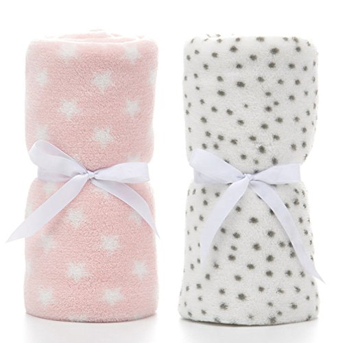 """(PRIMA 2 Pack Ultra Soft Baby Blankets, Comfortable Coral Fleece Plush Blankets for Infant Toddler, Gifts for Newborn, 30"""" x 40""""(Grey Dot & Pink)"""