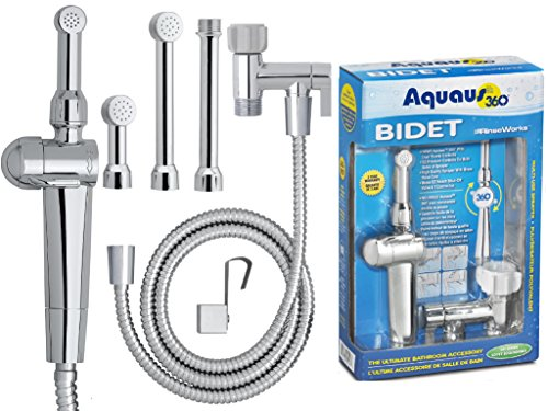 RinseWorks - Aquaus 360 Patented Hand Held Bidet - With ABS Polymer Sprayer - NSF Certified - 3 Year Warranty - Dual Pressure Controls - Safe Valve Core - 3 Spray Heads & 5'' Extension. (Tight Seal Valve Ball)