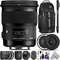 Sigma 50mm F1.4 ART DG HSM Lens for CANON DSLR Cameras w/ Sigma USB Dock & Advanced Photo and Travel Bundle