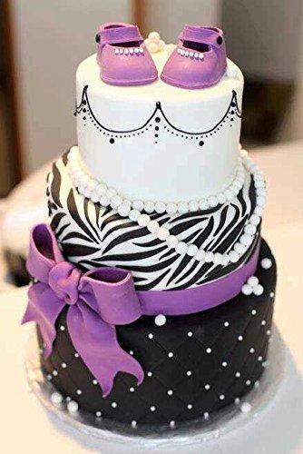 ZEBRA 68150 Zebra POLYO (Polyester Label) WHITE 3Wx1L(ST276-M1-B15-9C) Purple zebra girl baby showr cake | Cakes 1 | Pinterest