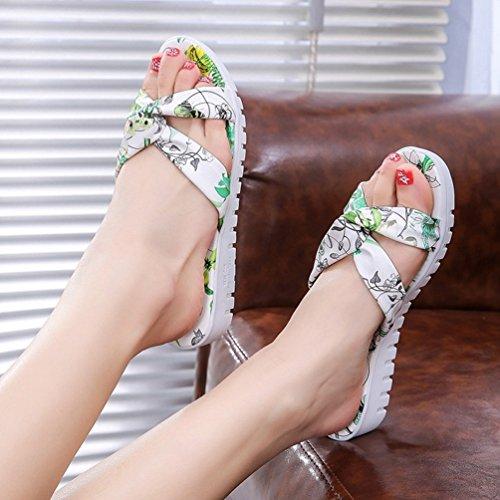 Plage Plates pour Chaussures Vert Sandales Compensés Lanières JITIAN Mules Nœud Tongs Femmes Claquettes xqFIU1nwvS