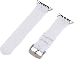 Clockwork Synergy - 2 Piece Double Braided Perlon Band for 38mm Apple Watch (White)