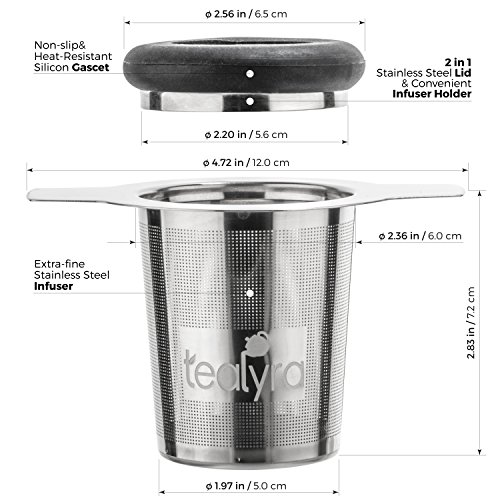 Tealyra - brewiTEA - Brew-In-Mug Tea Infuser Mesh Strainer with Metal Dish - Large Capacity and Perfect Size for Hanging on Teapots - Mugs - Cups - To Steep Loose Leaf Tea and Coffee by Tealyra (Image #2)