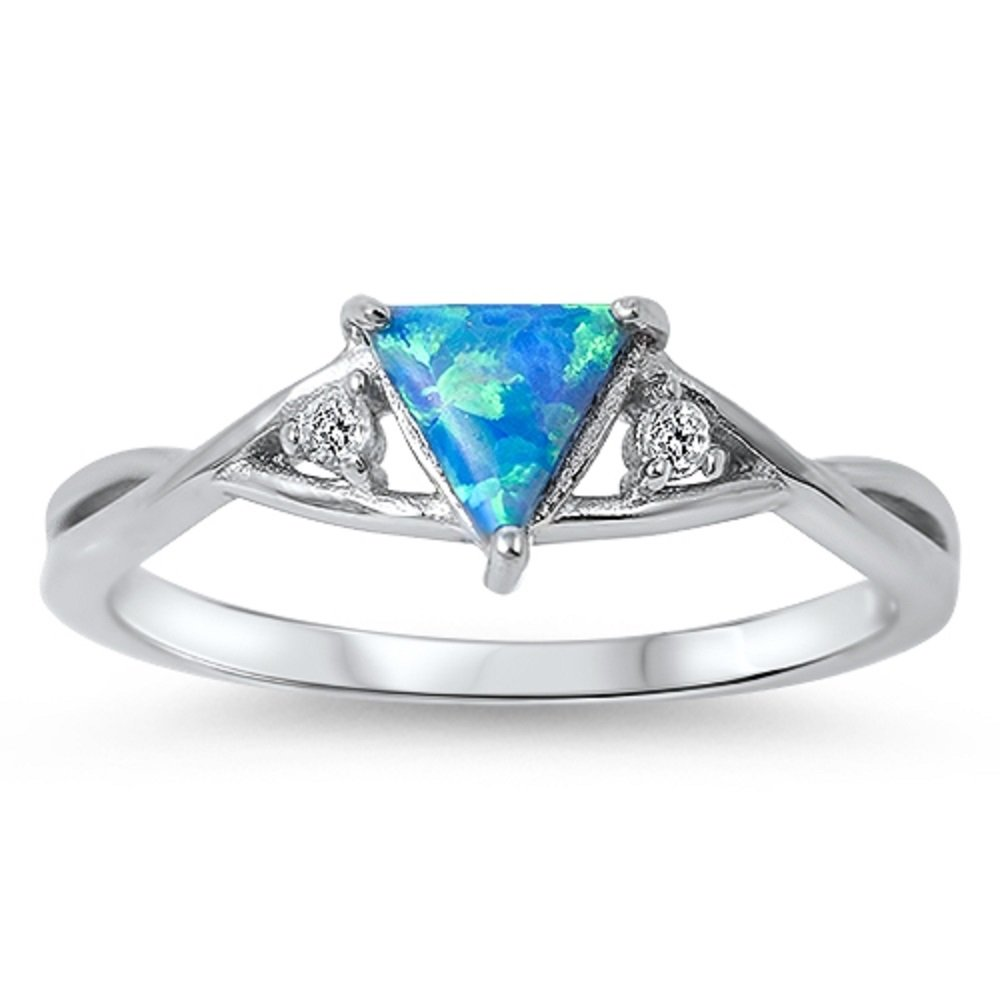 CloseoutWarehouse Illuminati Triangle Infinity Blue Simulated Opal Ring 925 Sterling Silver Size 7