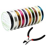 Md trade 10 Rolls 10 Colors Jewelry Beading Wire 0.4MM Uncoated Copper Wire with Cutting Pliers for Crafts Beading Jewelry Making and Repair