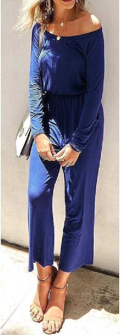 Hajotrawa Women Wide Leg Pants Off Shoulder Casual Romper Playsuit Jumpsuits