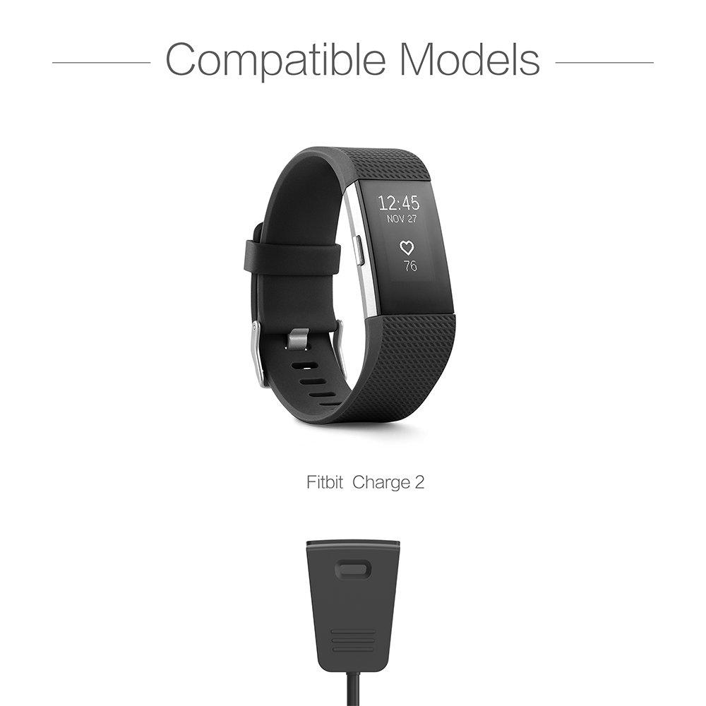 [2-PACK] TUSITA Cargador para Fitbit Charge 2 - Cable de carga USB Cable 100cm - Ritmo cardíaco + Rastreador de actividad física Accesorios