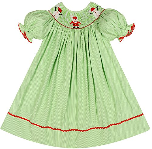 Dress Santa (Babeeni Christmas dresses for Kids Girls Bishop Style with a Hand-smocked X-mas patterns of Santa Claus and Snowman around the Neck in Lime Green Colour (3Y))