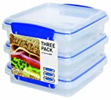 Sistema Klip It 3 by 15.2-Ounce Sandwich Box Set, 3-Pack, Clear, Appliances for Home