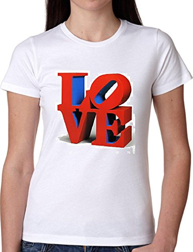 T SHIRT JODE GIRL GGG22 Z0696 LOVE LIFESTYLE WRITE HEART 3D LETTERS FUN FASHION COOL BIANCA - WHITE S