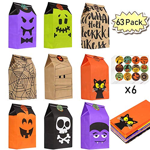 63 Pack Halloween Trick or Treat Candy Bags, Halloween Goodie Bags Halloween Gift Bags Halloween Treat Bags Party Supplies with Stickers (9 Designs)