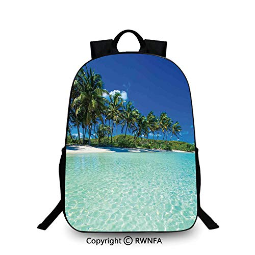 Notebook computer schoolbag,Image of a Sunny Day in a Tropical Island with Palm Trees and Ocean Heaven Calm Lands Travel College School Bags Turquoise Green