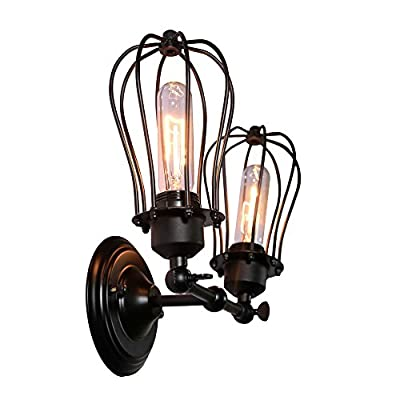MY CANARY Vintage Industrial Wall Sconce Light, Metal Wire Cage Double Lights Swing Shade Wall Lamp, Retro Rustic Light Fixtures Lighting