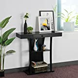 go2buy 3 Tier Console Table Entryway Table with Centre Drawer Open Shelves Black