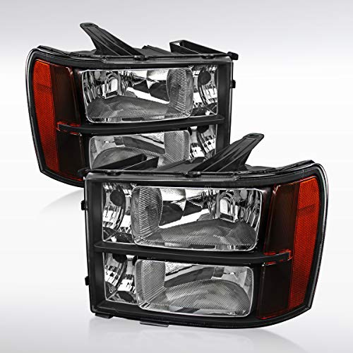 Black Headlights Diamond - Autozensation For GMC Sierra Denali Hybrid Euro Diamond Black Headlights Pair