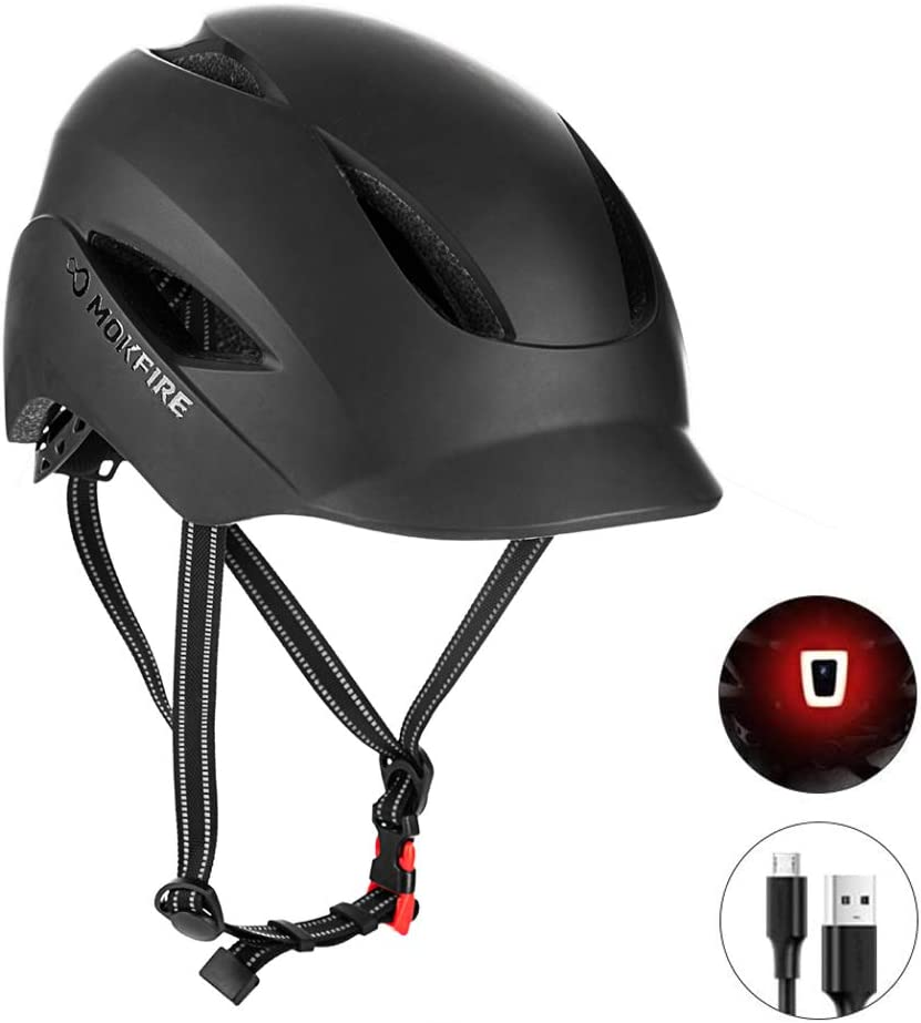 SUNRIMOON Bike Helmet for Adults Men Women Urban Commute with Rechargeable USB Light, Bicycle Cycling Helmet CPSC Certified, Adjustable Size 22.05-24.41 Inches