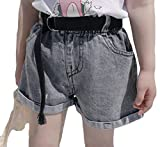 Cromoncent Girl Fashion Wide Leg Crimping Classic Fit Faded Belt Hot Denim Shorts As Picture 5T