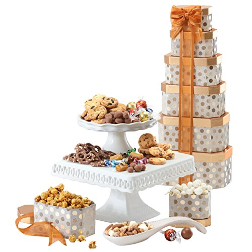 Broadway Basketeers Gourmet Gift Tower with an Assortment of Chocolate, Snacks, Sweets, Cookies and Nuts