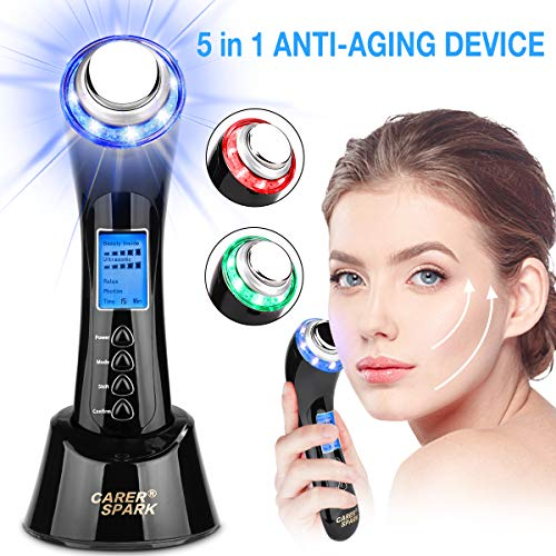 Anti Aging Device Facial Light Machine L-E-D Light for Skin Tightening Face Firming Device Ion Deep Cleansing Vibration Face Lifting Machine Home Use Rechargeable Skin Care Beauty Massager