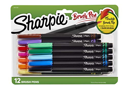 Sharpie Brush Tip Pens, Assorted Colors, 12 Count