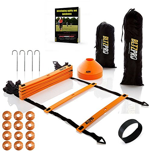 Agility Kit (Bltzpro AGILITY LADDER with CONES Fitness Gear- Improve Soccer,Football & Sports Skills, Used by Athletes & Coaches.16ft| 12 Adjustable Rungs|12 Cones|2 Carry Bags|4 pegs|footwork drills ebook)