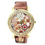 START Women Bling Diamond Crystal Oil Painting Pattern Wrist Watch-Brown