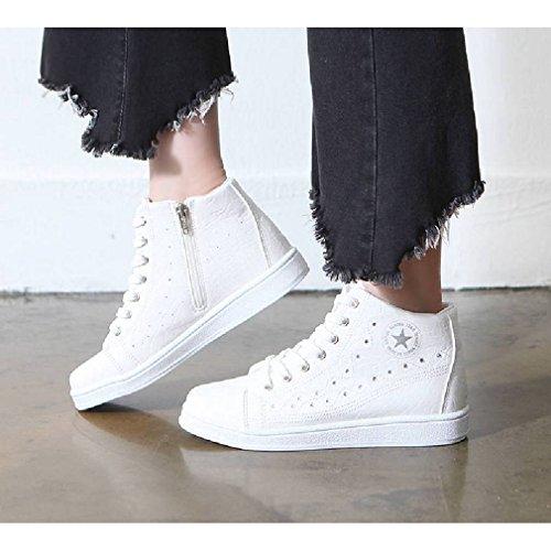 Epicstep Femmes Casual Cloutés En Faux Cuir Hauts Hauts Coins Cachés Mode Baskets Chaussures Blanc