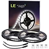 LE 2 Pack 16.4ft Flexible LED Light Strip, 300 Units SMD 2835 LED,12V DC, 5000k Daylight White, Non-waterproof, LED Tape, LED Ribbon, DIY Indoor Party Christmas Holiday Home Kitchen Car Bar Decoration