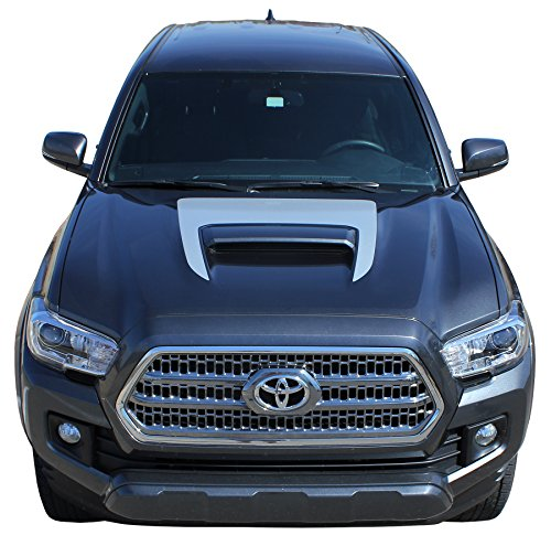 (Sport Hood Graphic : 2015 2016 2017 2018 2019 Toyota Tacoma TRD Sport Pro Hood Wrap Blackout Stripes Vinyl Graphic 3M Decal Kit (FITS All Models) (Color-3M 05 Silver Metallic))